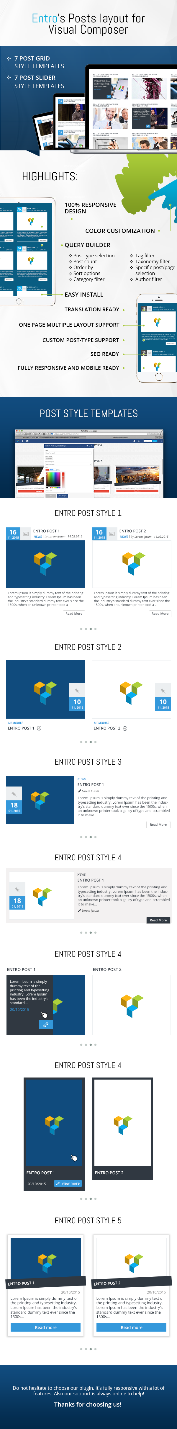 Entro's Posts layout for Visual Composer 3
